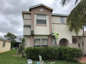 Outside stucco repair work